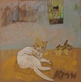 Voir Chat I - 30x30 - tempera
